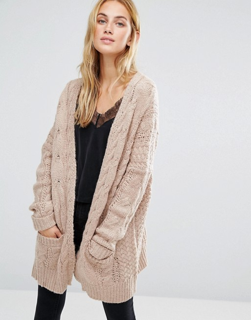 Fashion Union Oversized Cardigan In Chunky Cable Knit | AS