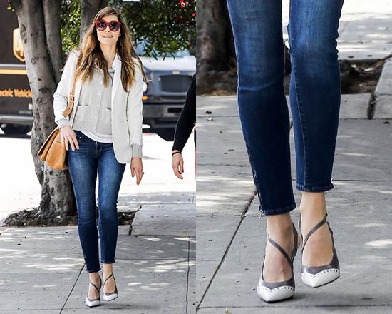 Jessica Biel wearing Paige Denim Verdugo Ankle Zip Jeans and Miu .