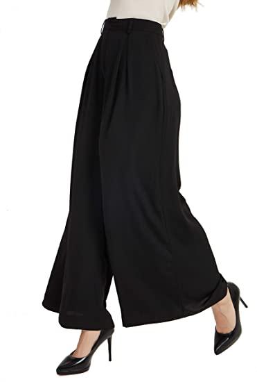 Tronjori Women High Waist Casual Wide Leg Long Palazzo Pants .