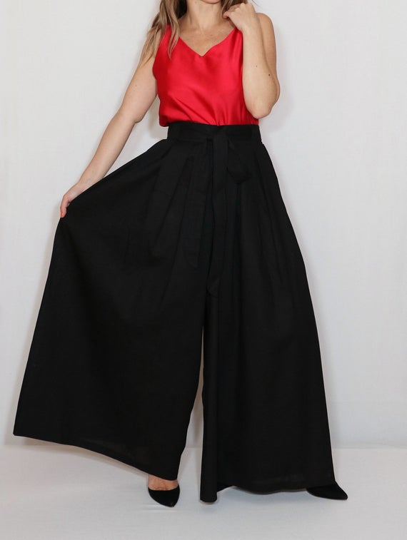 Black palazzo pants black linen pants linen skirt pants | Et