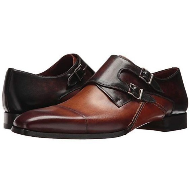 Handmade Shaded Double Monk Shoes, Leather Dress Shoes, | RebelsMark