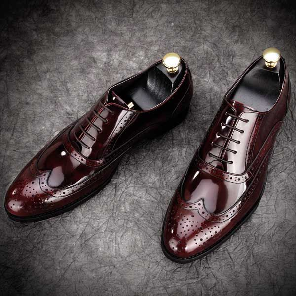 Leather Brogues Fashionable Formal Mens Grooms Shoes Wine Red .