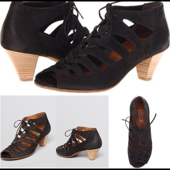Paul Green Shoes | Black Prague Lace Up Tie Booties | Poshma
