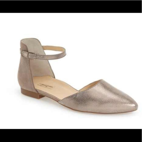 Paul Green Shoes | Silver Flats With Nice Ankle Strap | Poshma