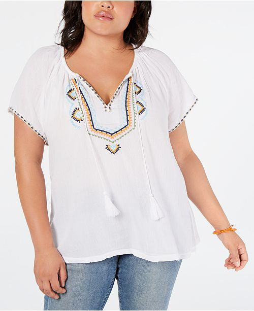 Lucky Brand Plus Size Embroidered Short-Sleeve Peasant Top .