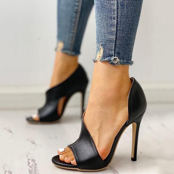 Variedshoes Cutout Peep Toe Thin Heeled Hee
