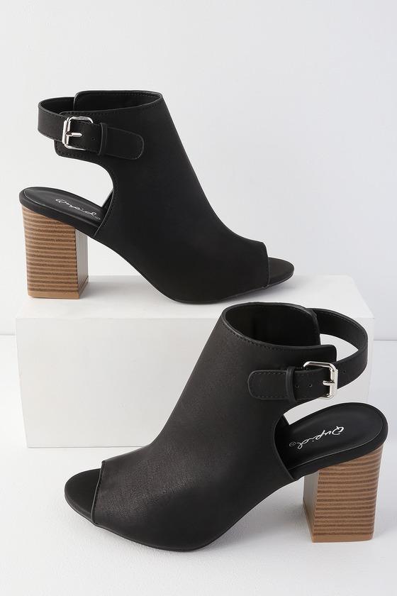 Chic Black Booties - Vegan Leather Booties - Peep Toe Booti
