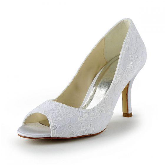 Classic Lace Bridal Shoes White Peep Toe Stiletto Heel Pum