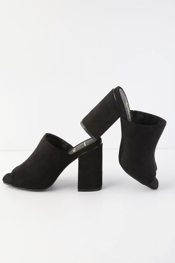 Cute Mules - Peep-Toe Mules - Black Mules - Vegan Mul