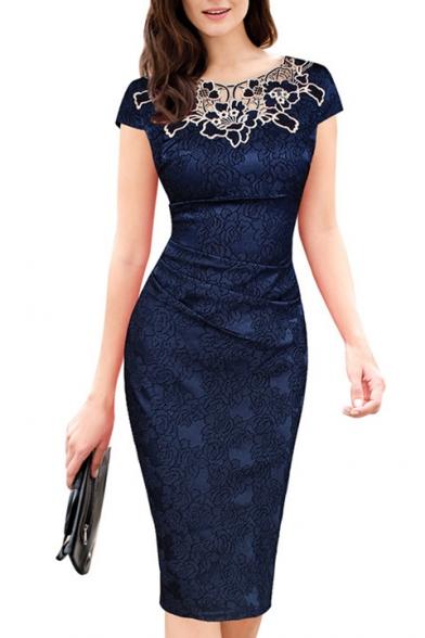 Women's Elegant Short Sleeve Round Neck Lace Midi Pencil Dress .