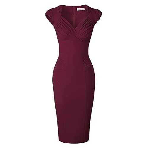 Burgundy Pencil Dress: Amazon.c