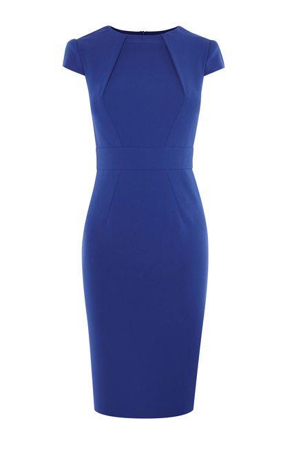 Karen Millen, HIGH-NECK PENCIL DRESS Blue   Детали кутюр, Женская .