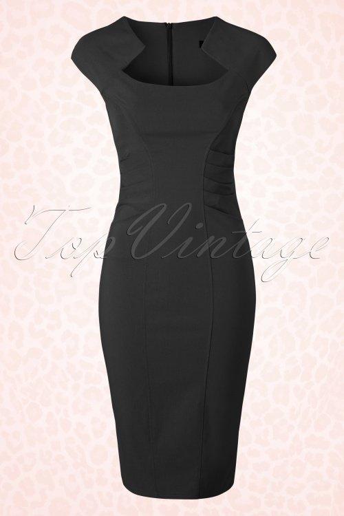 50s Leona Pencil Dress in Bla
