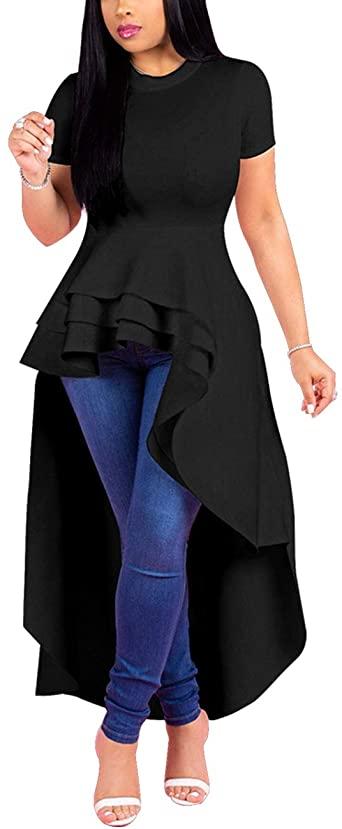 Lrady Women Ruffle High Low Asymmetrical Bodycon Peplum Tops .