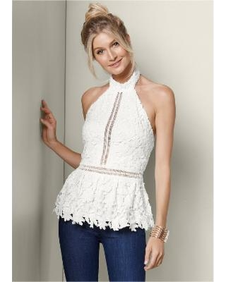"""New Deal on """"Lace Peplum TOP Tops - Whit"""