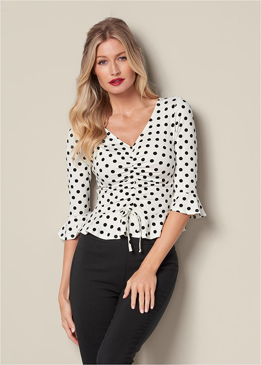 Ruched Peplum Top in White & Black | VEN