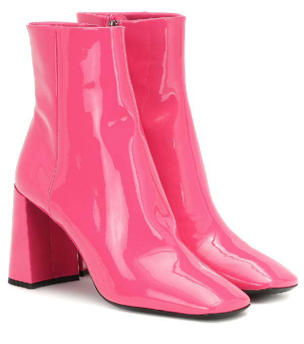 Prada Patent Leather Ankle Boots In Pink   ModeSe