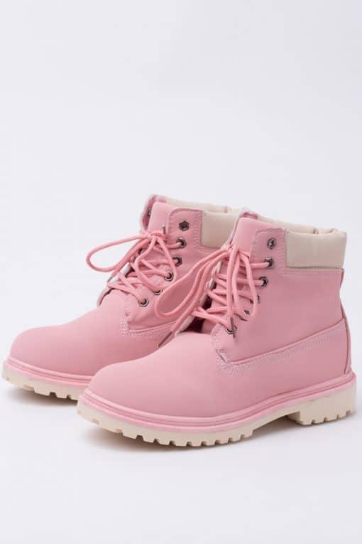 Pastel Pink Work Boots - Ragsto
