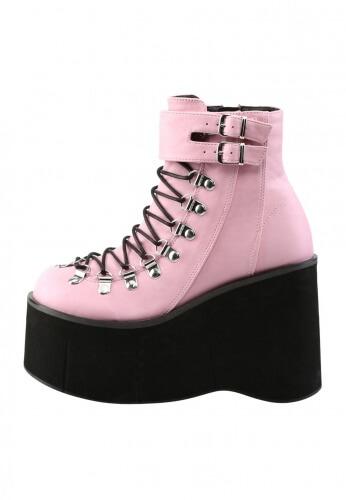 Demonia Pink Kera-21 Boots   Pink Ankle Booti