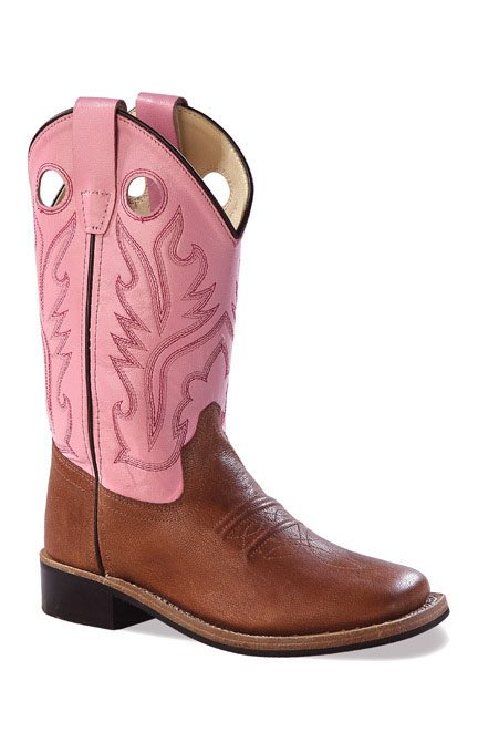 Old West Children's Broad Square Toe Leather Western Boots - Pink .