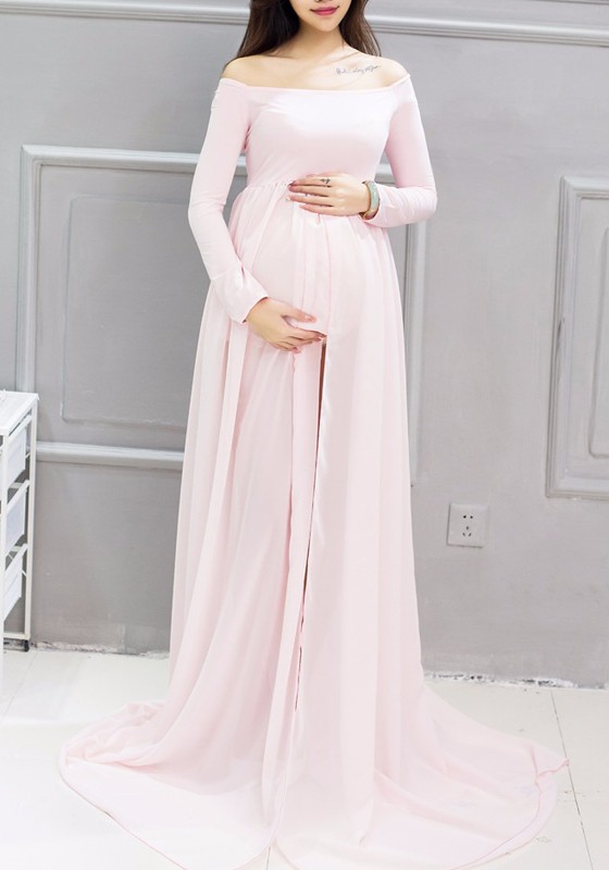Pink Draped Slit Off Shoulder Satin Maternity Photoshoot Elegant .