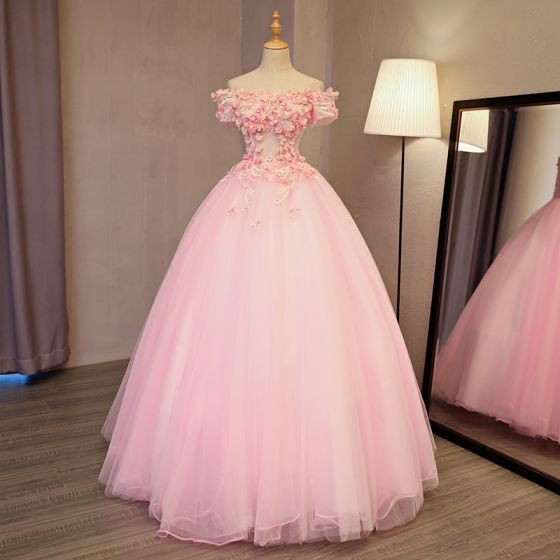 Lovely Pearl Pink Prom Dresses 2017 Ball Gown Off-The-Shoulder .