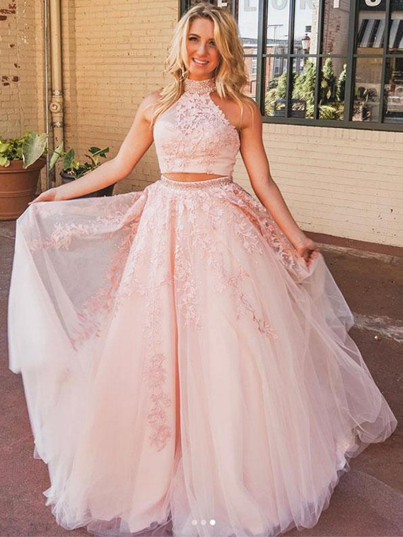 Buy Chic Two Piece Pink Prom Dresses High Neck Appliques with .