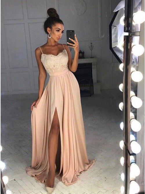 A-Line Spaghetti Straps Sweep Train Pink Satin Prom Evening Dress .
