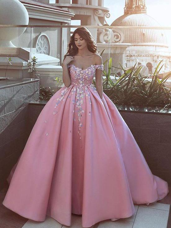 Ball Gown Prom Dresses Off-the-shoulder Sweep Train Satin Long .