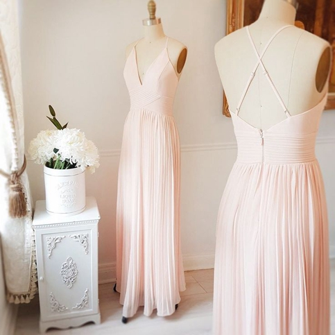Formal Dress | Simple light pink chiffon long prom dress,pink .