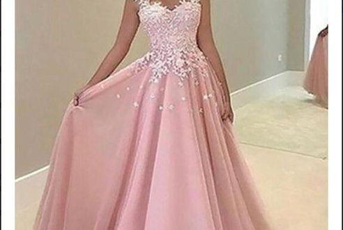 Blush Pink Prom Dresses V Neck Appliques Sleeveless A Line Formal .