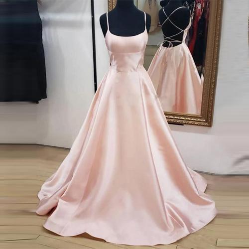 Illusion Cheap Formal Dresses Spaghetti Satin Light Pink Prom .