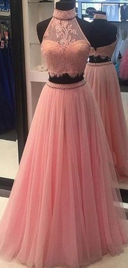 Prom Dresses,Prom Gown,Baby Pink Prom Dress,Prom Dress Two Piece .