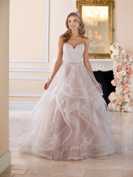 Pink Floral Lace Ball Gown Wedding Dress | Kleinfeld Brid
