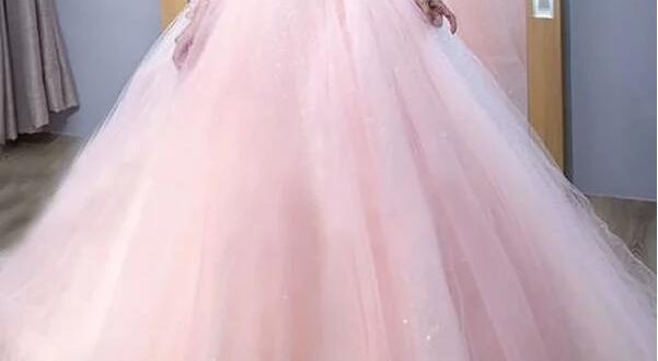 Ball Gown Long Sleeves Train Lace Tulle Dresses pink wedding .