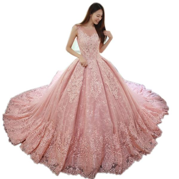 2019 sleeveless pink wedding dresses lace applique floor length vest