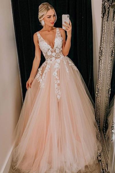 Sheer V-neckline Lace Blush Pink Wedding Dress Tulle Skirt .