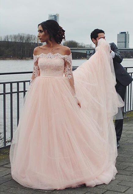 Off the Shoulder Wedding Gown, Blush Pink Wedding Dress, Tulle .