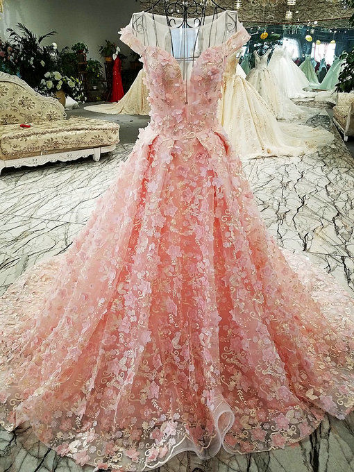 Pink Wedding Dress Haute Couture Lace Bridal Gown For Sa