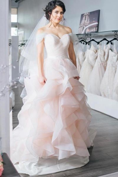 Ruching Off-the-shoulder Light-pink Wedding Gown Ruffles Skirt .