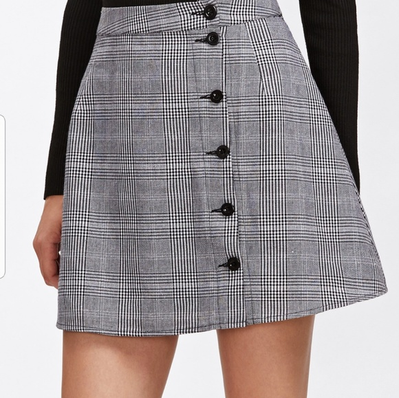 Francesca's Collections Skirts | Plaid Button Down Skirt | Poshma