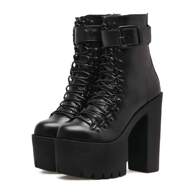 GOTHIC PUNK SINGLE BUCKLE HIGH LACE-UP PLATFORM BOOTS - Rebellious .