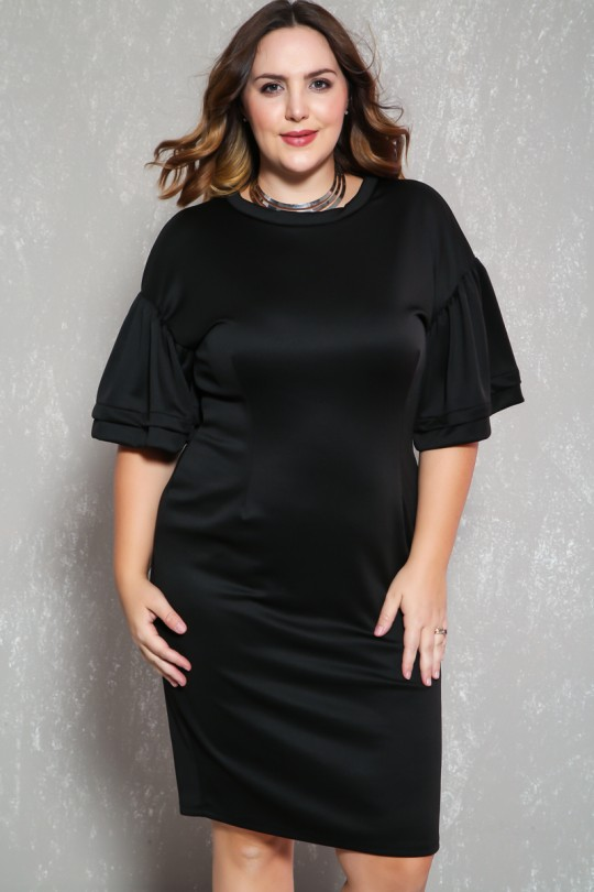 Sexy Black Ruffled Sleeve Knee Length Plus Size Formal Party Dre