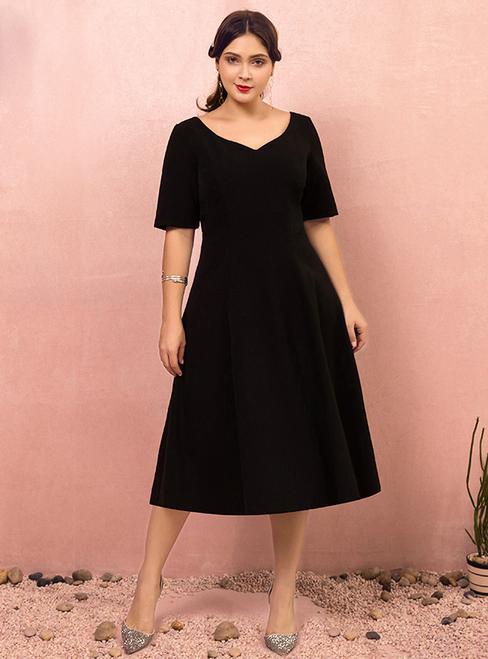 Plus Size Tea Length Black Short Sleeve Satin Prom Dre