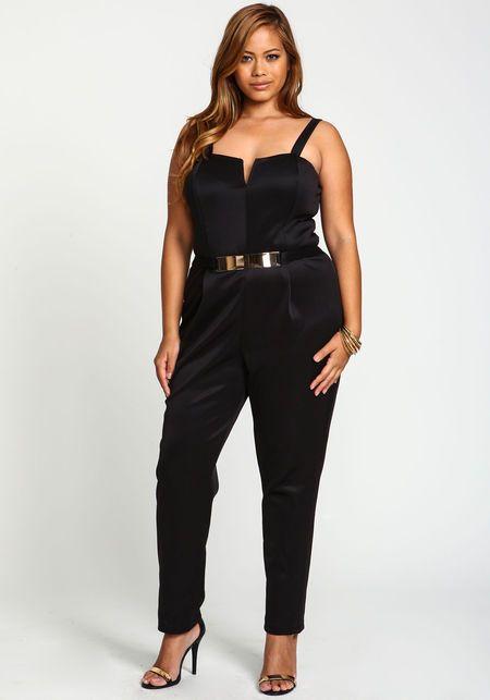 Plus Size Gold Plate Jumpsuit, BLACK. Hot Cruise club wear! | Plus .