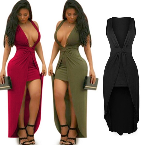 Plus Size New Fashion Women's Sexy Deep V-neck Irregular Hem Fold .