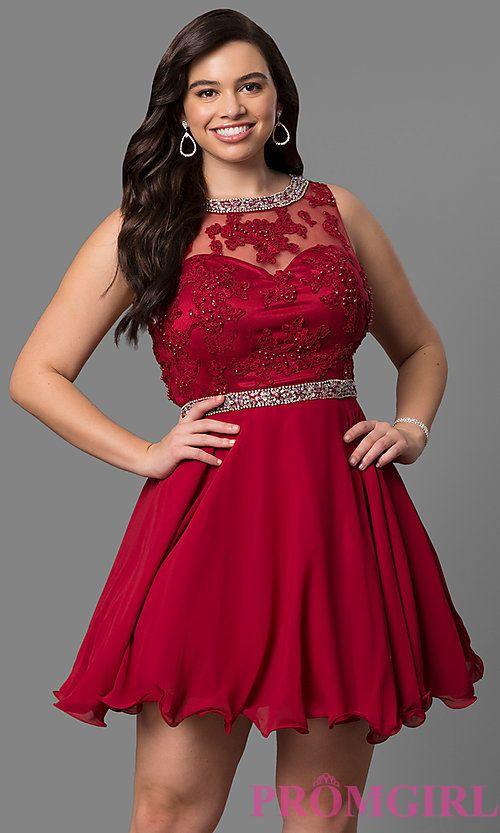 Short Lace Bodice Plus Size Prom Dress | Homecoming dresses short .