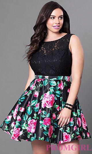Short Black Print Plus Size Homecoming Dress at PromGirl.com .