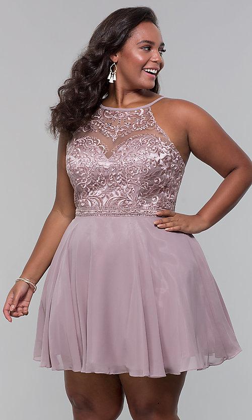 Short Chiffon Plus-Size Homecoming Dress -PromGi