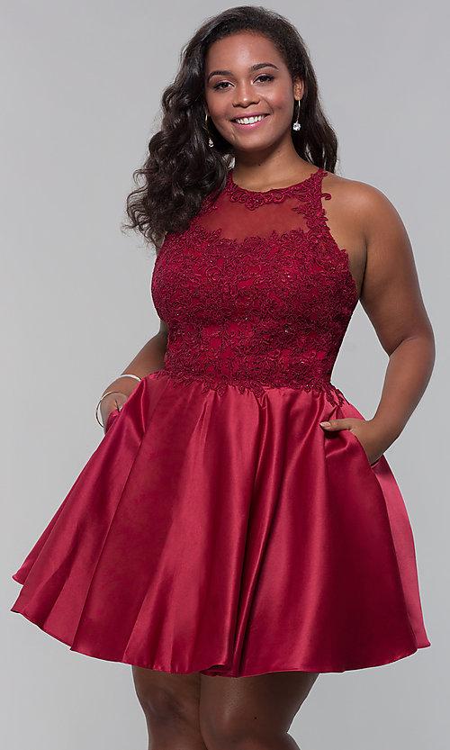 Plus-Size Short Satin Homecoming Dress - PromGi